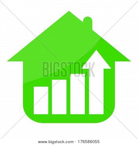 Abstract green house and growing trend isolated on white background