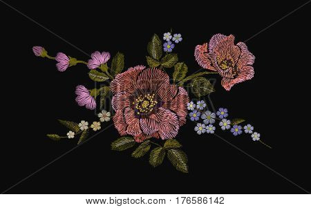 Embroidery colorful floral pattern with poppy and daisy flowers. Vector traditional folk fashion ornament on black background. illustration