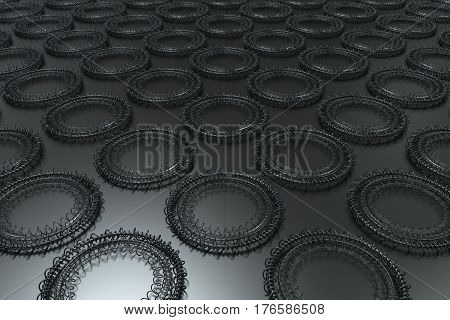 Pattern Of Concentric Shapes Made Of Rings And Spirals On Black Background