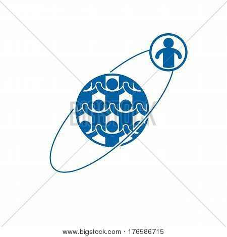 Society And Person Interaction Creative Logo, Unique Vector Symbol Created With Different Icons. Sys