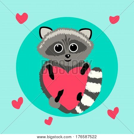 vector illustration cartoon raccoon cartoon with heart