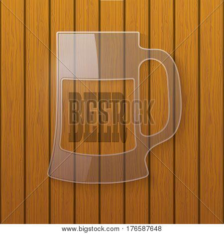 Glass plate in the form of a beer mug on a wooden wall
