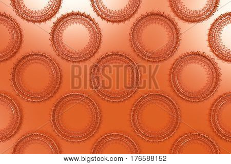 Pattern Of Concentric Shapes Made Of Rings And Spirals On Orange Background