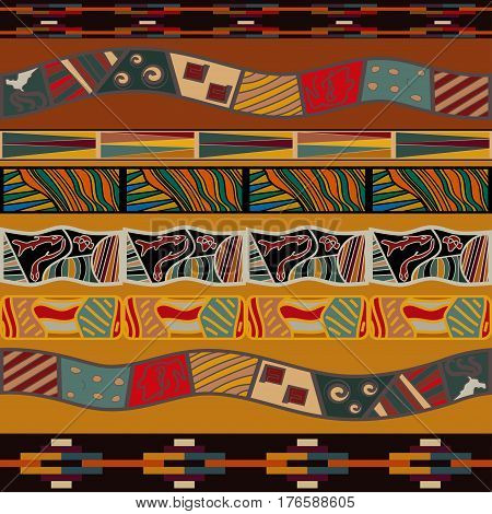 African seamless pattern. Bright pattern in ethno style.