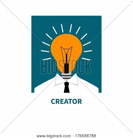 Flat icon business thinking. Man with head light. Creator of the ideas. Vector illustration.