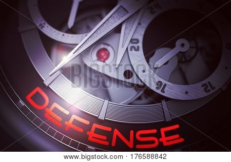 Defense on Face of Luxury Wristwatch, Chronograph Close Up. Elegant Pocket Watch Machinery Macro Detail and Inscription - Defense. Business Concept with Glow Effect and Lens Flare. 3D Rendering.