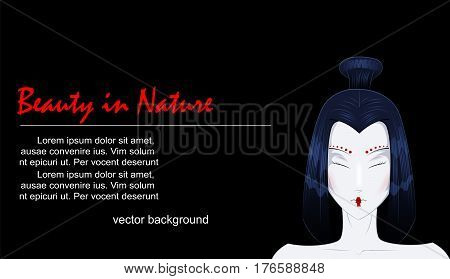 Beauty cartoon young woman with closed eyes. Easy to edit vector background