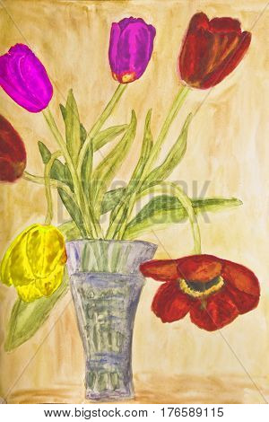 Hand painted picture watercolors vase with tulips