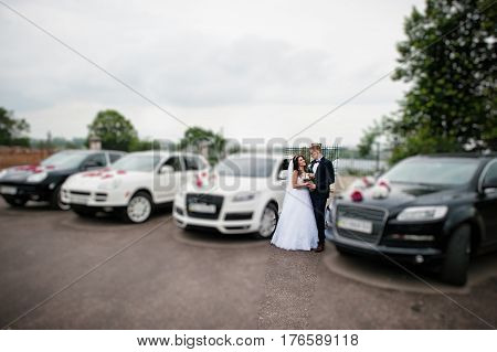 Young Stylish Wedding Couple Against Rich Wedding Cortege.