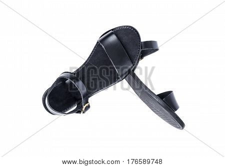 Woman's Black Leather Shoes Isolated on White