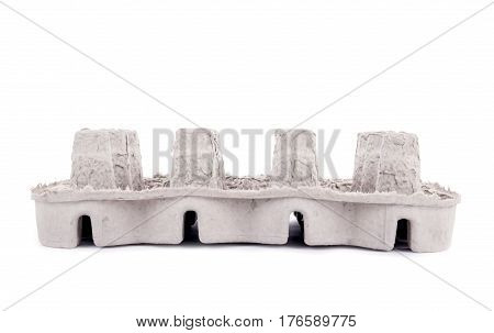 Gray Recycled Paper Packaging Material Isolated on White