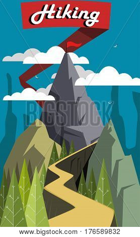 Flat style landscape. Hiking concept, Easy to edit. Vector