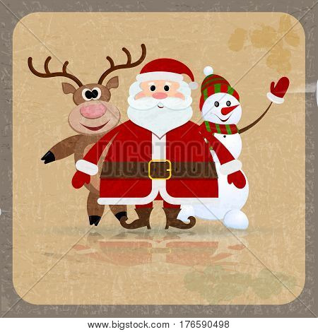 Santa Claus snowman and reindeer on a retro background