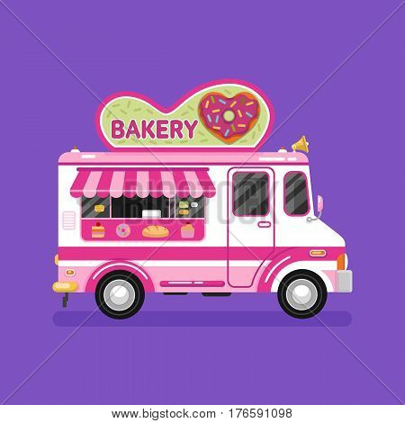 Flat design vector illustration of bakery van. Mobile retro vintage shop truck icon with signboard with donut in heart shape with glaze. Car side view isolated