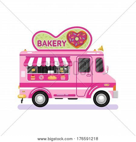 Flat design vector illustration of bakery van. Mobile retro vintage shop truck icon with signboard with donut in heart shape with glaze. Car side view isolated on white background.