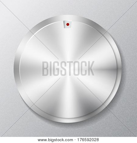 Metal round button multimedia, on a gray background
