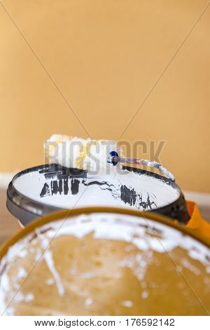 White Wall Paint And Roller, Closeup From Handiwork Painter Material