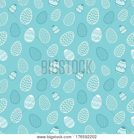 Easter vector background. Egg spring resurrection blue pattern. Religion holiday vintage backdrop with easter eggs illustration