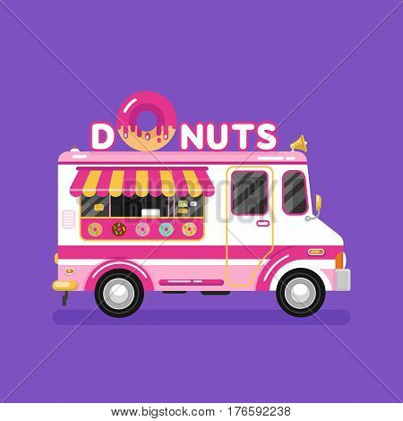 Flat design vector illustration of donuts car. Mobile retro vintage shop truck icon with signboard with big donut with tasty glaze. Van side view isolated