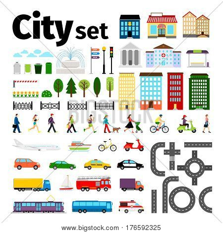 City elements isolated on white background. Urban transport and roads, buildings and people life vector illustration. Transport and road collection