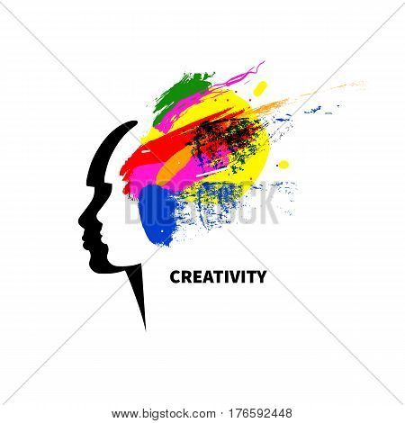 Icon creative. Logo art studio. Female head by spattered paint. Vector illustration