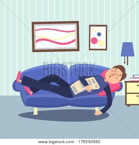Funny sleeping man at home sofa with newspaper. Relaxing person vector illustration. Jobless guy character sleep in apartment