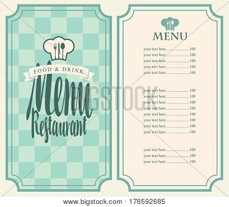 Vector restaurant menu template with price list toque and cutlery on a checkered background