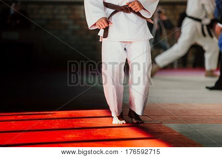 athlete judoka in white kimono and brown belt on tatami