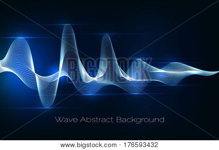 Sound wave abstract background. Audio waveform vector illustration. Wave of musical soundtrack for record