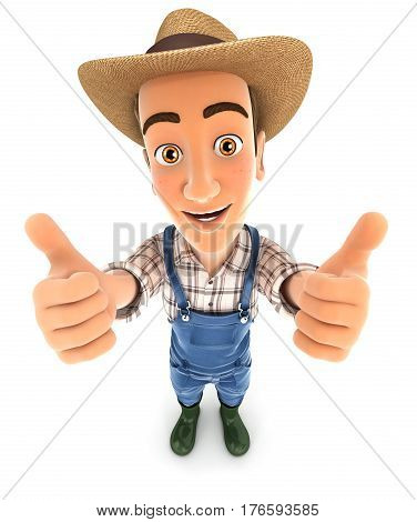 3d farmer thumbs up illustration with isolated white background