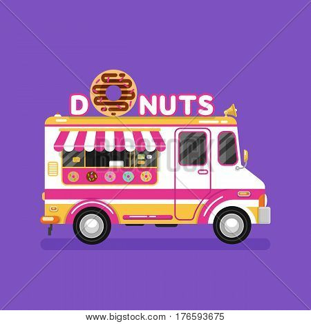 Flat design vector illustration of donuts car. Mobile retro vintage shop truck icon with signboard with big donut with chocolate glaze. Van side view isolated