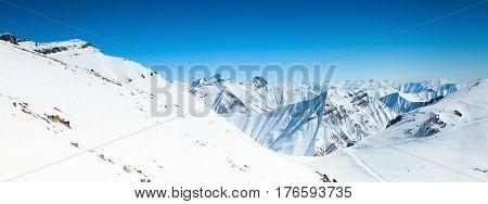 Winter snow covered mountain peaks in Georgia
