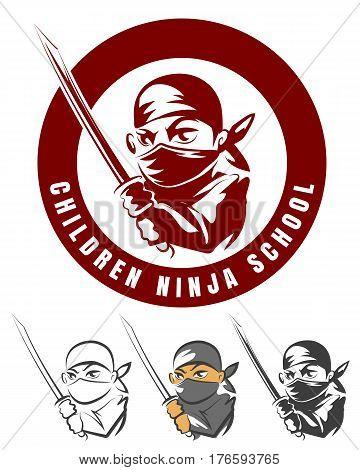 Children ninja school cartoon emblem vector illustration. Japanese logo martial arts