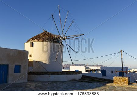 Windmill in Chora on Ios island, Greece.