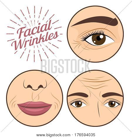 Young woman facial wrinkles troubles for anti wrinkle process cream vector illustration. Trouble femal face, problem wrinkle