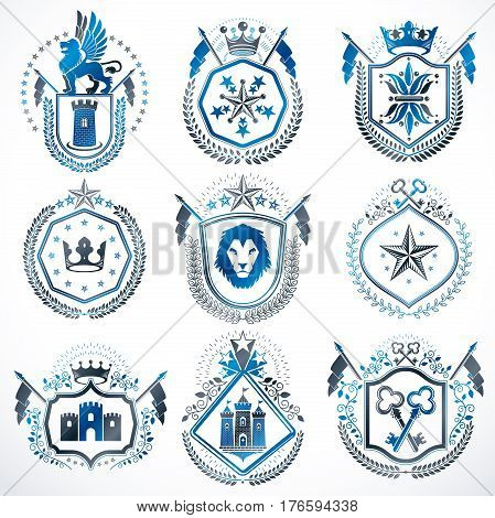 Set of vector retro vintage insignias created with design elements like medieval castles armory wild animals imperial crowns. Collection of coat of arms.