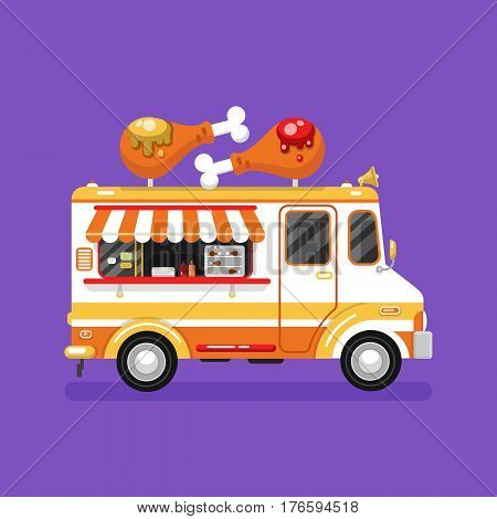 Flat design vector illustration of cartoon fried chicken car. Mobile retro vintage shop truck icon with signboard with two big chicken legs with ketchup and mustache. Van side view isolated