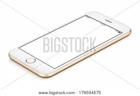 Gold mobile smart phone mock up clockwise rotated lies on the surface with blank screen isolated on white background. Use this smartphone mock-up for your web project or design presentation.