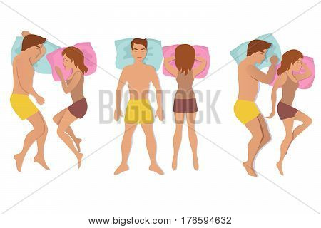 Couple sleeping poses. Man and woman resting and dreaming positions vector illustration. Relax night for body male and female