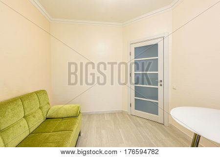 Stock photo white apartment interior design of bedroom, modern style, chisinau, moldova