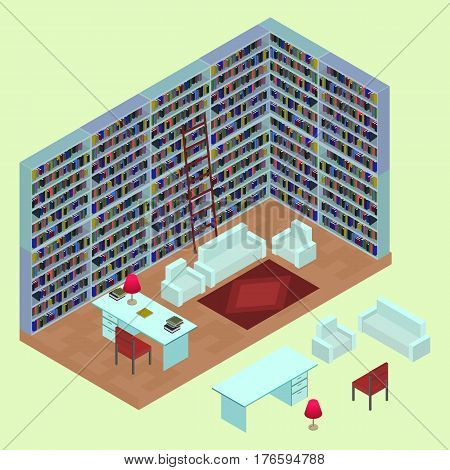 Isometric home library in 3D. The interior of the lounge area with isolated books bookshelves table sofa armchairs lamp and carpet. Open plan room in vector.
