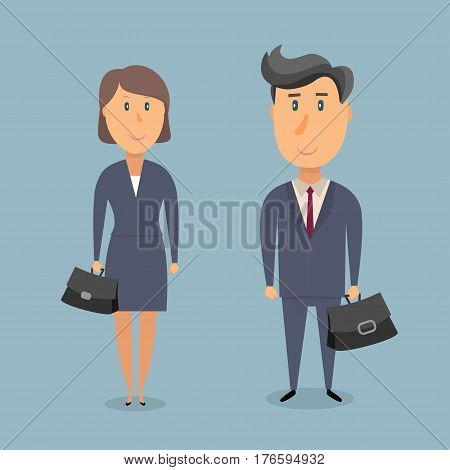 Businessman and businesswoman in gray business suits