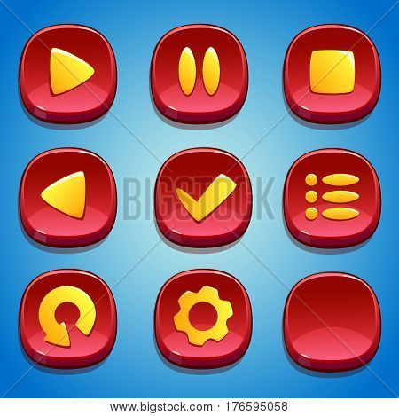 Red buttons set. GUI and UI elements