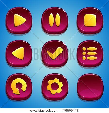 Vinous buttons set. GUI and UI elements.