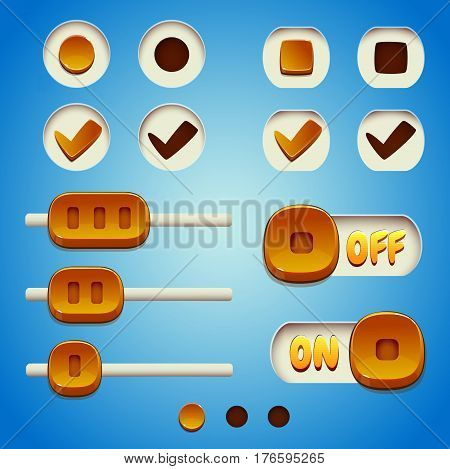 Yellow buttons set. GUI and UI elements.
