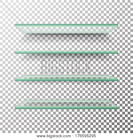 Empty Glass Shelves Template Vector Set. Alike Glass Shelves