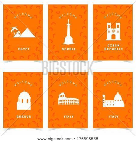Poster For Travel On Orange Background Set Two Illustration