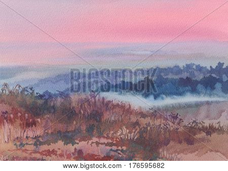 Dawn in the morning watercolor landscape. Purple sky.