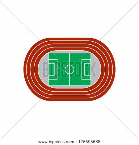 Stadium with running track colorful vector icon isolated on white background.