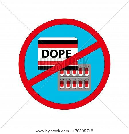 Vector illustration. Pill pack with text.ANTI-DOPING sign